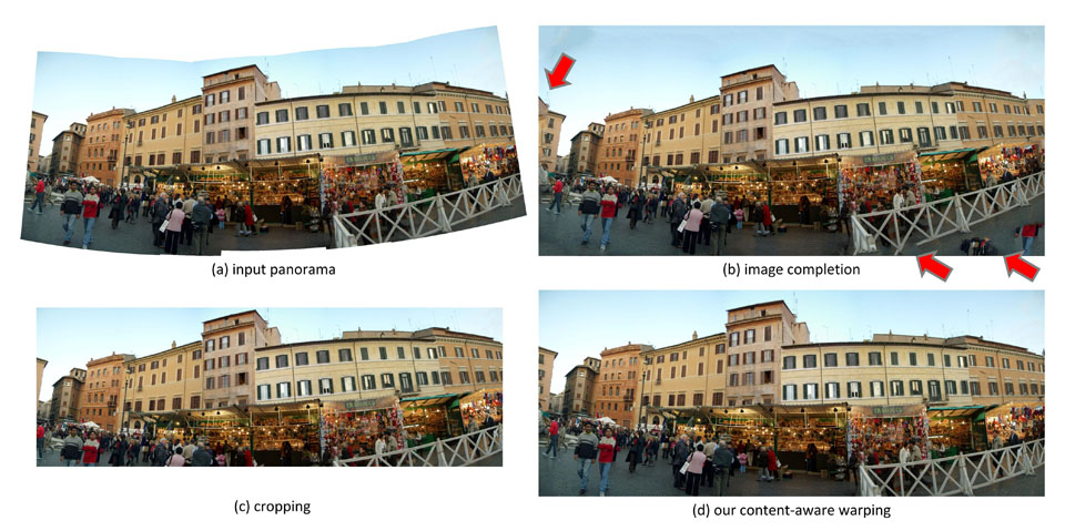 Rectangling Panoramic Images via Warping